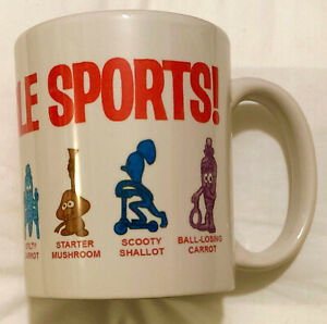 VEGETABLE SPORTS COFFEE MUG -1971 R&L CEREAL TOYS THEME, VEGGIE CUPPA SOUP
