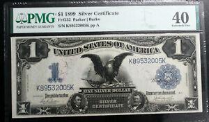 $1 1899 Silver Certificate Fr#232 Parker  Burke PMG 40 EXTREMELY FINE