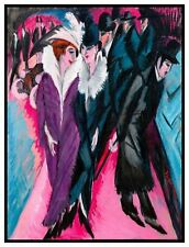 People on a Berlin Street by German Ernst Kirchner Counted Cross Stitch Pattern
