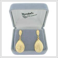 Ladies 14K Yellow Gold Fashion Diamond Cut Drop Earrings