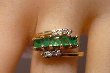 Emerald & Diamond 14K Gold Ring Princess Cut Emeralds Lovely Ring Stunning