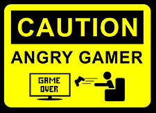 """A4 Poster – """"CAUTION ANGRY GAMER"""" (Picture Print Gaming Game Art XBOX ONE PS4)"""