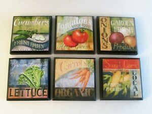 Vegetable Kitchen Room Wall Plaques - Set of 6 - Veggie Farm House Country Decor