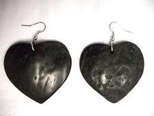 NEW BOHO RICH BLACK COLOR HEART SHAPE COCONUT WOOD DANGLING FASHION EARRINGS