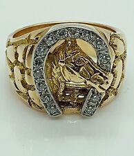 14K YELLOW GOLD&DIAMOND UNISEX GOOD LUCK HORSE HORSESHOE RING!!! GREAT GIFT!!