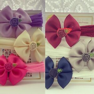 Embroidery Flower Baby Headbands 6 Bows Set 3 inch Bow Soft Stocking nylon Band
