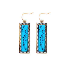 NEW Urban Anthropologie Huge Exa Teal Resin Rhinestone Statement Earrings