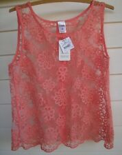 Girl Xpress Women's Pink/Coral Sheer Lace/Embroidery Singlet Top - Size 14
