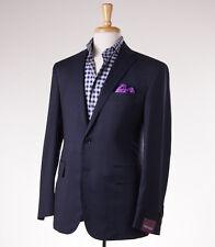 NWT $2795 SARTORIA PARTENOPEA Navy-Brown Windowpane Wool Sport Coat Slim 44 R