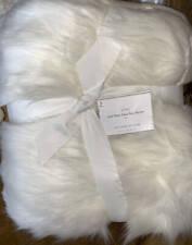 New~Pottery Barn Faux Fur Brown Sun Bear Blanket Throw~Ivory~50x60