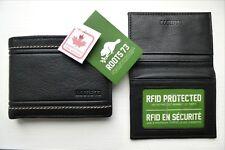 2 ITEMS ! ROOTS CANADA Black Stitch Leather WALLET & CARD / ID HOLDER New Tags