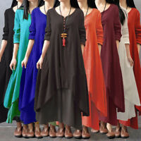 Vintage Women Boho Long Sleeve Cotton Linen Kaftan Maxi Irregular Dress Plus