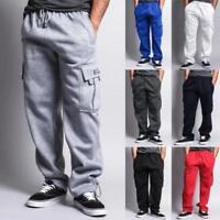 Mens Winter Casual Thick Fleece Cargo Pocket Sweat Pants With Drawstring Hot