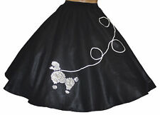 "Black FELT 50s Poodle Skirt _ Adult Size SMALL _ Waist 25""- 32"" _ Length 25"""