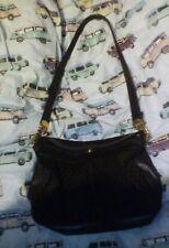 399203a75cc VINTAGE GUCCI brown leather suede G Monogram Shoulder Bag Handbag