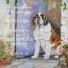 SAINT BERNARD DOG NEW PLAQUE TILE OIL PAINTING PRINT SANDRA COEN ARTIST