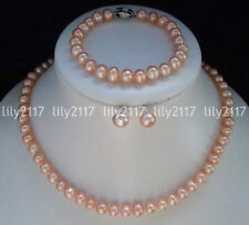 Natural 7-8mm Pink Akoya Real Pearl Necklace Bracelet Earrings Jewelry Set 18''