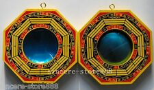 Feng Shui a Pair of Pakua Wooden Bagua Ba Guas Mirrors / Convex and Concave