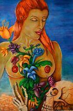 Akt Erotic Grafik ORGINAL NO Poster Love Tod Liebe Öl Women Girl Farbe Art 26x39