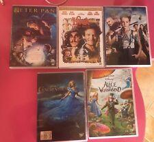 Lotto 5 DVD Disney Peter Pan Hook Alice Wonderland Cenerentola Pan
