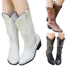 Womens Ladies Cowgirl Cowboy Boots Ladies Mid Wide Calf Western Shoes Size Plain