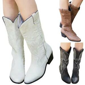 Womens Floral Embroidery Knee High Boots Ladies Mid Calf Low Block Heel Shoes