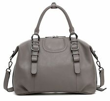 New Gray Pebbled Italian Leather Handbag Satchel Shoulder Bag Purse