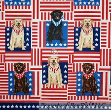 BonEful Fabric FQ Cotton Quilt Red White Blue Flag L Dog Labrador Retriever Star
