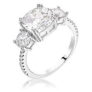 3.65 CW Triple 3 Stone Cushion Cut CZ Royal Bridal Anniversary Silver Ring Sz 7
