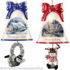 Thomas Kinkade Ringing In The Holidays Ornament Set: Set of 2