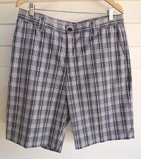 Adidas Men's Grey & White Plaid Shorts - Size L