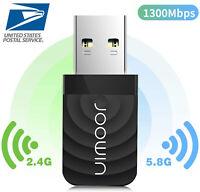 1200Mbps Wireless USB Wifi Adapter Dongle Dual Band 2.4G/5GHz Windows MAC PC