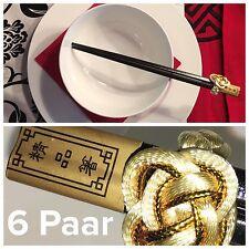 NEU Maison Strauss 6x Essstäbchen Stäbchen Set Asia China Schwarz Gold Luxus