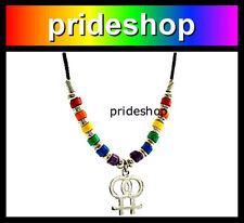 Leather With Rainbow Cotton Hemp Woven String Bracelet Gay Lesbian Pride #974