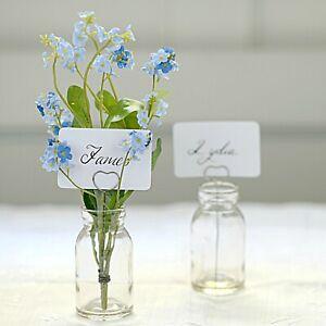 X10 Name Card Holder Flower Vase With Metal Heart & Mini Glass Bottle Wedding UK