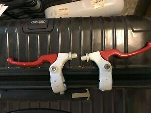 brake lever Set vintage old school bmx black 2 fingers 1980s  Red/White 2tone