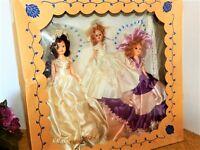 Wedding Dolls Hard Plastic Sleepy Eye VTG 1940s Bride Maid of Honor Flower Girl