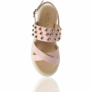 Girls Pink Glitter Stud Summer Holiday Flat Sandals Kids UK Size 10-2 Buckle Sun