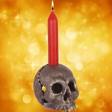 Halloween Teelichthalter Totenkopf makaber Party Gag Curios Geschenk OLD SILVER.