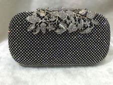 Black/Silver ~ Flower Crystal Clasp Bridal / Evening Clutch Purse Party Bag