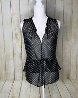 CYNTHIA STEFFE Womens Black Polka Dot Sheer Tiered Blouse Top SMALL