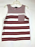 Banana Republic Women Top White Red Striped Knit Sleeveless Sz M Shirt Blouse 14