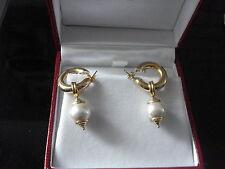 tolle Gelbgoldcreolen mit einzuhängender gr.gefaßter Perle(750erGelbgold)