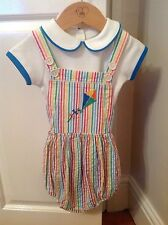 Little Bird By Jools Oliver Striped 1 Month Short  Dungarees & Bodysuit  Set