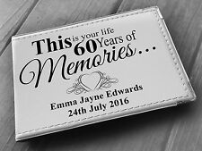 """Personalised guestbook photo album 36 x 6x4"""" my 60th year memory book, birthday"""