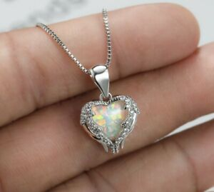 Xmas Gift Love Heart White Fire Opal Gems 925 Sterling Silver Necklace Pendants