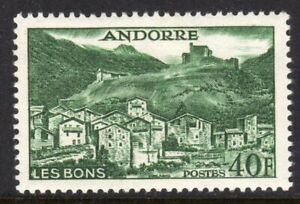 Andorra, French Administration Scott #138 VF Unused 1955 40F Dk Green Les Bons