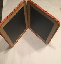 "Vtg Four Side Bifold Slate 101/2"" By 7 1/2"" Framed In Wood Bound In Raffia"