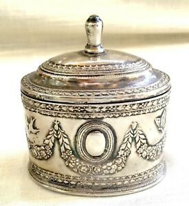 Vintage Silver Plate Repousse Jewelry Box - Laurels, Butterfly, Swallow/Bird