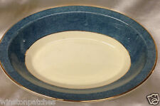 "JOHNSON BROTHERS JB898 BLUE MOTTLED BAND OVAL VEGETABLE BOWL 9 1/8"" SPONGED"